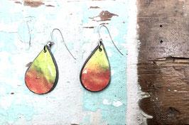 Ohrringe tropfenförmig rot/gelb