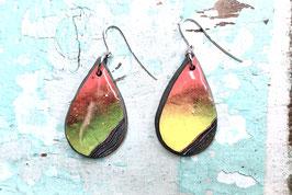 Ohrringe tropfenförmig gelb/rot