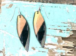 Ohrringe länglich spitz Orange/schwarz