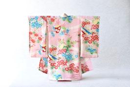 掛こべべ 〜涼み〜「薄桜色 青赤花文様」