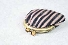 がま口 小 「ぼかし縞  黒×薄ピンク」gm-1s