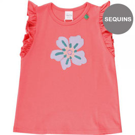 green cotton Aloha flower T coral