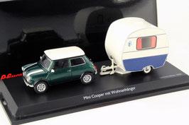 Austin Mini Cooper MK VII 1996-2000 dunkelgrün met. / weiss mit Wohnwagen