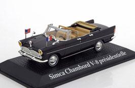 "Simca Chambord V8 Presidentielle Cabriolet 1961 schwarz ""Charles De Gaulle & John F. Kennedy"""