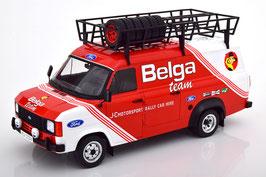 """Ford Transit MK II 1978-1985 """"Belga Racing Team rot / weiss mit Dachträger mit Ersatzräder"""