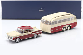 Simca Vedette Chambord 1959-1966 mit Wohnwagen Henon Cardinal dunkelrot / beige