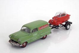 Opel Olympia Rekord Caravan 1954 grün mit Anhänger und Messerschmitt KR rot