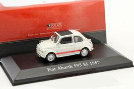 Fiat Abarth 595 SS 1957 hellgrau / rot /  schwarz 1:43 von Atlas / IXO