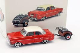 Opel Kapitän 1955-1958 rot / weiss mit Westfalia Anhänger braun / schwarz