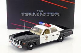 "Dodge Monaco 1977 Metropolitan Police ""Film Terminator 1984 mit T-800 Figur"" schwarz / weiss"