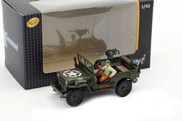 Jeep Willys CJ-2 1944-1945 oliv mit Figur