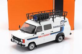 """Ford Transit MK II 1977-1986 Lieferwagen """"Rally Sport David Jones weiss / blau mit Gepäckträger"""