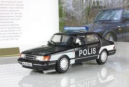 Saab 900 Turbo 1986-1991 Polis Finnland schwarz / weiss