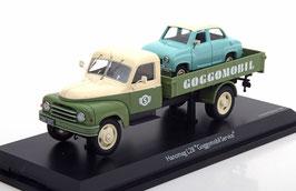"""Hanomag L28 LKW Pritsche 1950-1960 """"Goggomobil Service"""" oliv / creme mit Goggomobil türkis / weiss"""