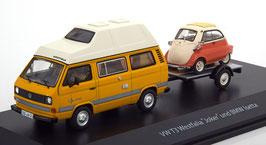 VW T3a Camper Joker Hochdach 1981-1985 gelb / weiss mit BMW Isetta auf Anhänger