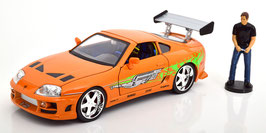"Toyota Supra IV 1993-2002 ""Fast and Furious 2001 orange / Decor mit Figur und Lichtfunktion"