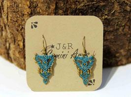 Ohrringe, türkis mit goldenen Miniperlchen