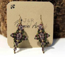 Ohrringe grün und grau, mit goldenen Miniperlchen
