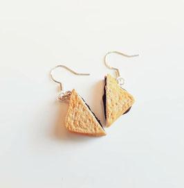 Nutella-Toast Ohrringe I Ohrhaken I Hälften