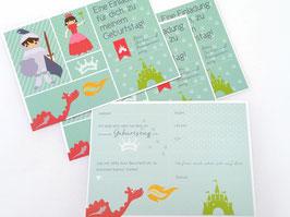 Einladungskarte Ritter- und Prinzessin