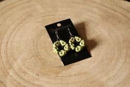 Handmade earrings pentagram in skull light green