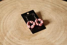 Handmade earrings pentagram in skull pink