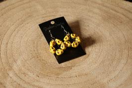 Handmade earrings pentagram in skull yellow