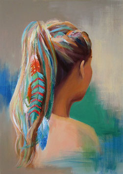 "Women painting ""Liz"" 60 x 80 cm (23,6 x 31,5 inches)"