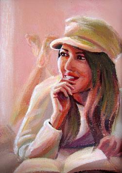 """Original Gemälde Frauenportrait """"Clarissa"""" 13 x 18 cm"""