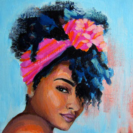 "Original Gemälde Frauenportrait ""Nikisha"" 15 x 15 cm"