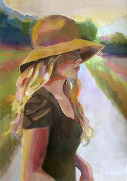 "Original Gemälde Frauenportrait ""Marie"" 42 x 59 cm"