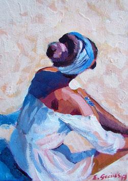 "Original Gemälde Frauenportrait ""Am Strand"" 13 x 18 cm"