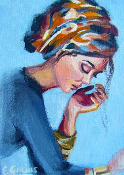 "Original Gemälde Frauenportrait ""Goldglanz"" 13 x 18 cm"