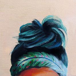 "Original Gemälde Frauenportrait ""Bruna"" 15 x 15 cm"