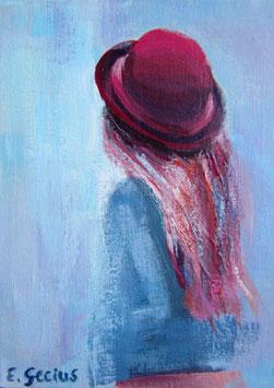 """Original Gemälde Frauenportrait """"Pinke Haare"""" 13 x 18 cm"""