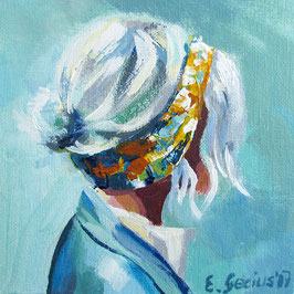 "Original Gemälde Frauenportrait ""Shopping"" 15 x 15 cm"