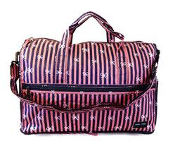 Ribbon Print with Pink & Navy Stripes