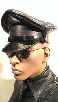 Leder Cop Mütze schwarz