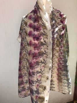 Seidenschal mit Blüten, Ecoprint