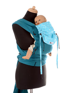 Huckepack Wrap Tai Baby-emerald/light blue stars