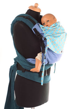 Huckepack Half Buckle Toddler-light blue dots/petrol