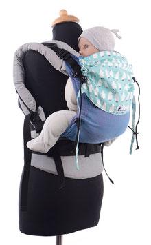 Huckepack Full Buckle Baby - Girasol Pueblo blue / penguines