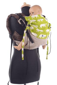 Huckepack Onbuhimo Medium-hellbraun/ grün Bären