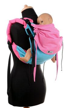Huckepack Onbuhimo Toddler-türkis/pinke Punkte