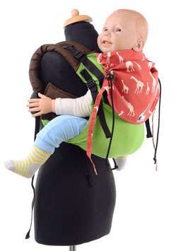 Huckepack Onbuhimo Toddler-green/red giraffes