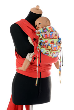 Huckepack Wrap Tai Baby-red owls