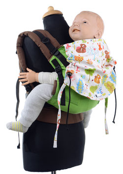 Huckepack Full Buckle Toddler - green forest animals