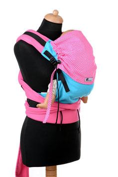 Huckepack Half Buckle Toddler-türkis/pinke Punkte