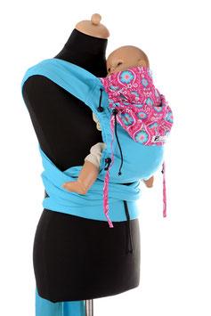 Huckepack Wrap Tai Baby-türkis/pinke Blumen