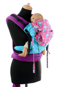 Huckepack Half Buckle Medium-turquoise/pink flowers